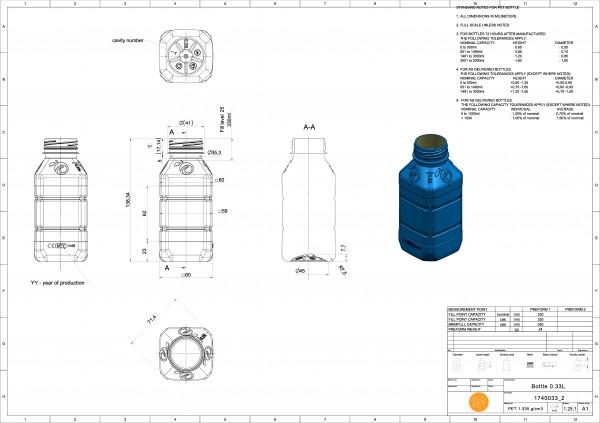 Butelka PET kwadratowa tłoczona 330 ml