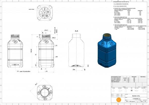 Butelka PET kwadratowa tłoczona 500 ml,